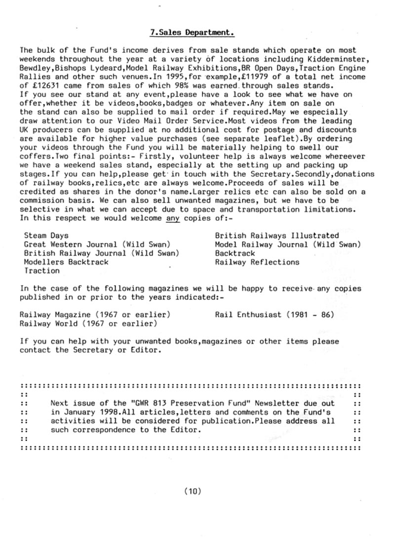 GWR 813 Fund Summer 1997 Newsletter